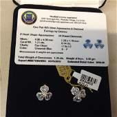 1 pair of Sterling Silver Aquamarine  Diamond Earrings