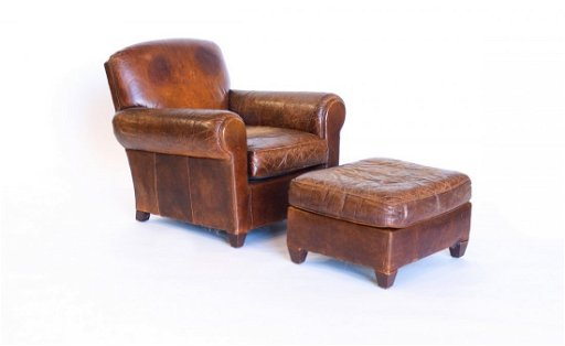 Astounding B35B1 2 Vintage French Leather Club Chair With Ottoman Ncnpc Chair Design For Home Ncnpcorg