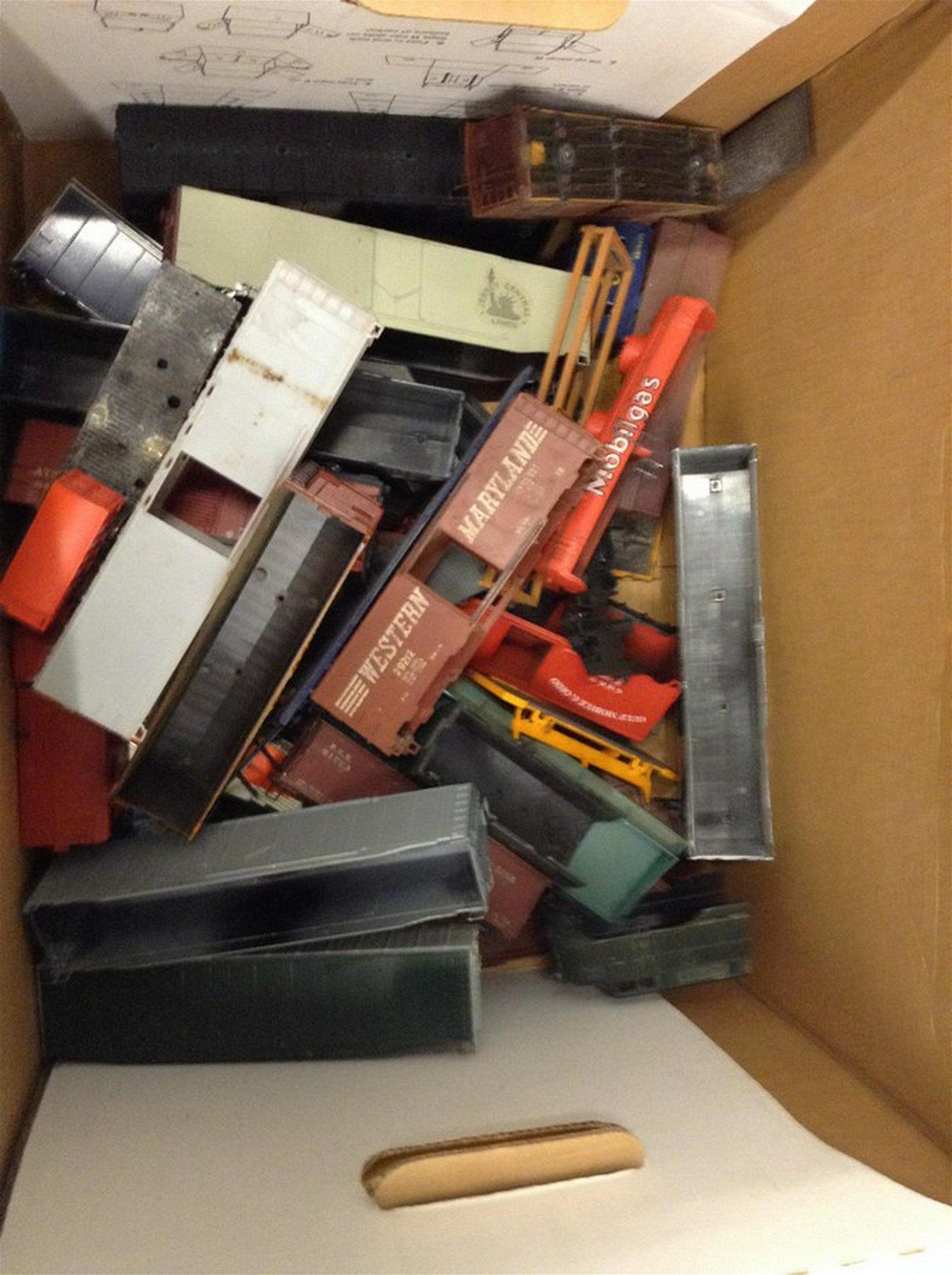 large box of HO train car parts
