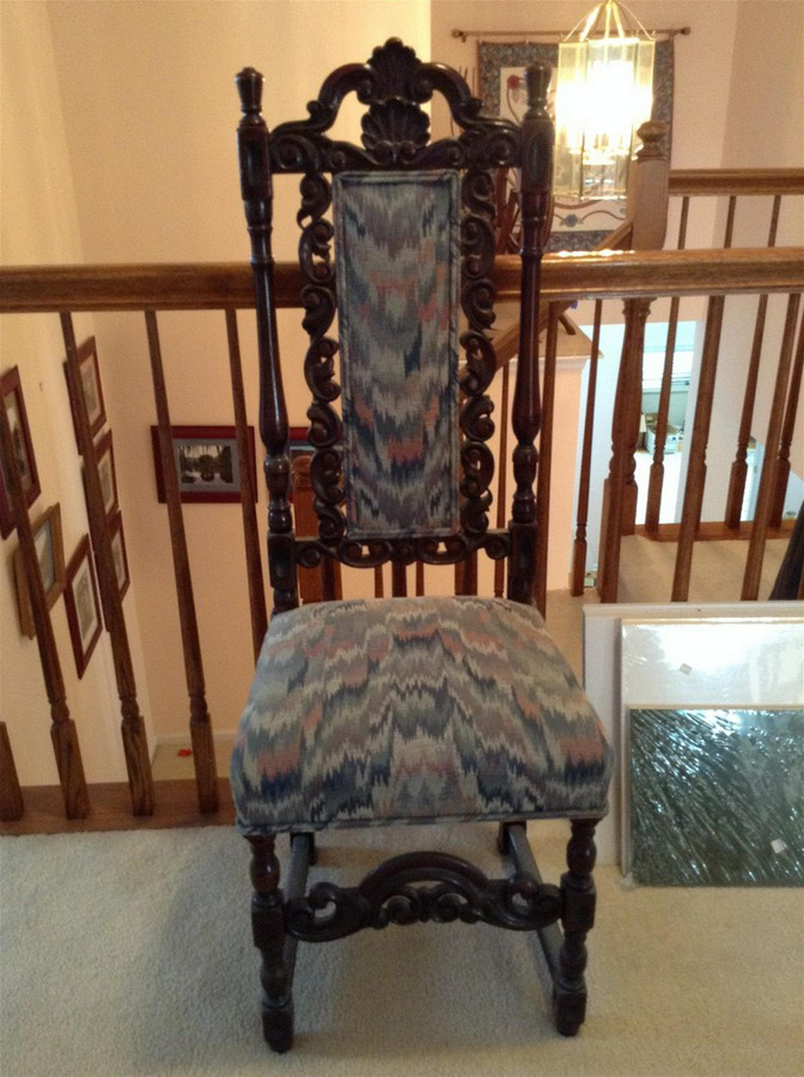 early high back wooden chair