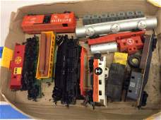 large lot of HO train cars