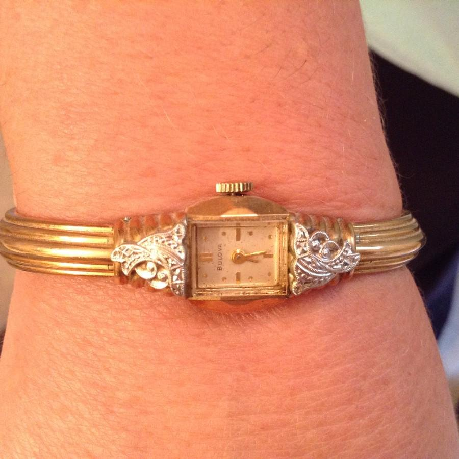 10k gold filled Bulova Ladies Watch with Diamond Chips
