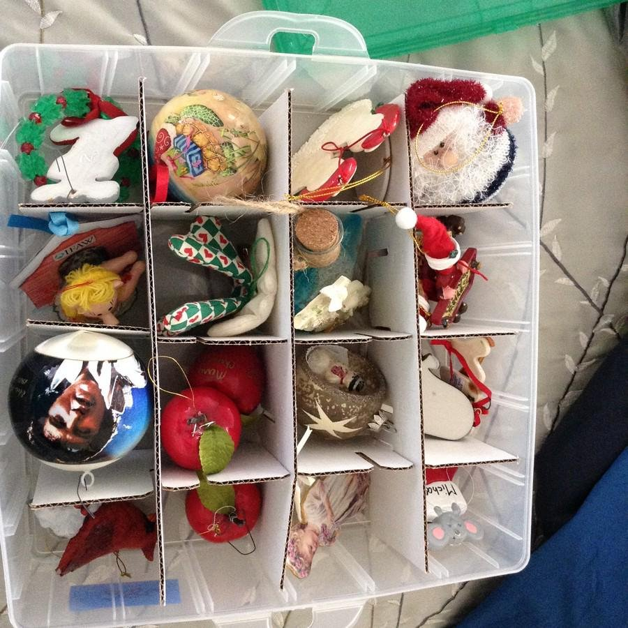 3rd tray of Christmas ornaments; Elvis & more