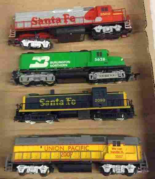 lot of four vintage train engines