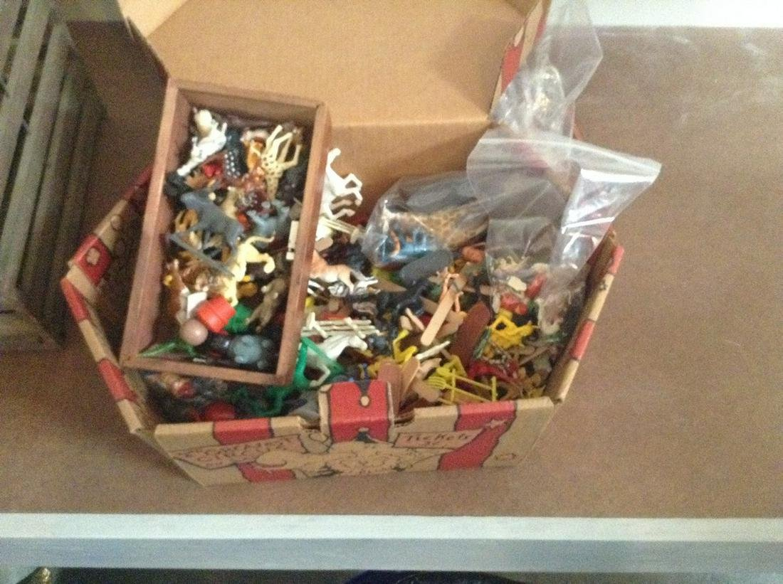 vintage huge box of plastic animals, cowboys and