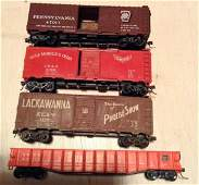 lot of four Athearn HO train cars