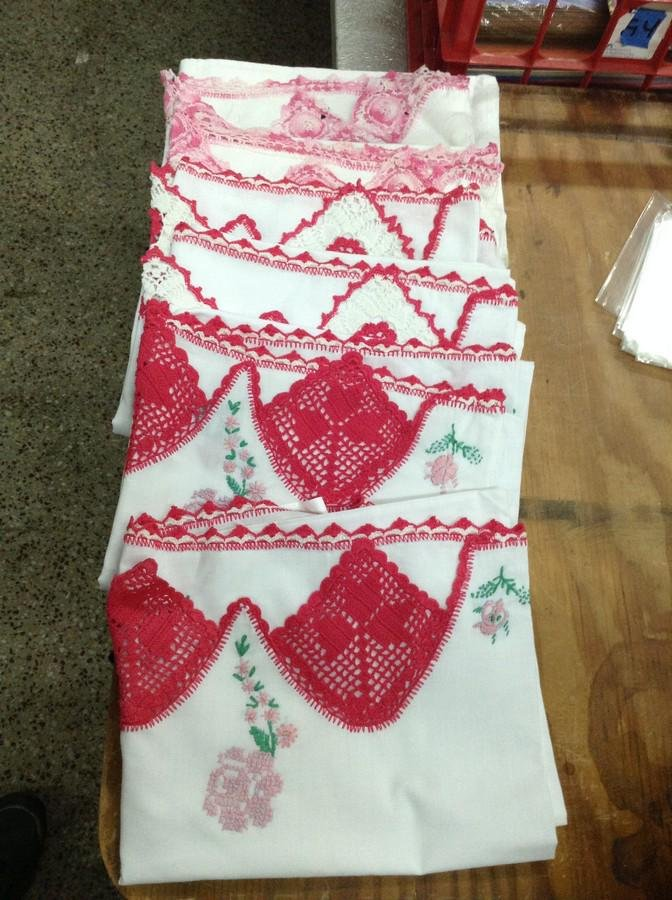 embroidered pillow cases lot of 6