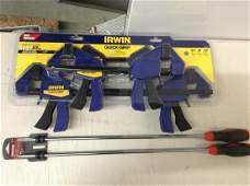 2 long screwdriver set and Irwin quick grip clamp set