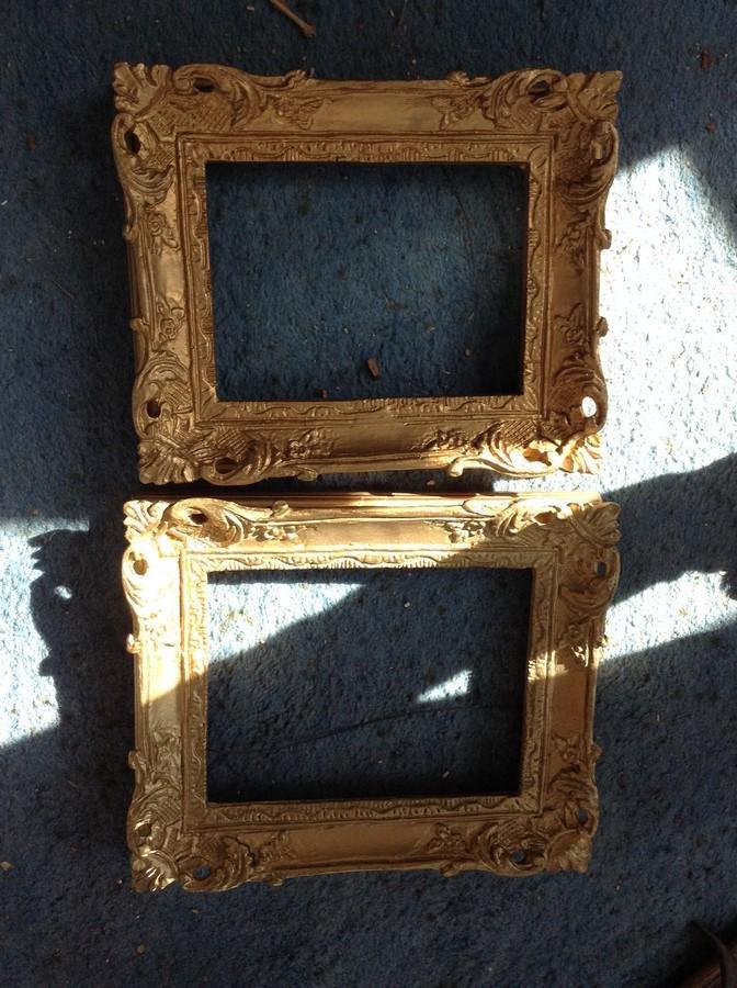 two ornate vintage wood frames