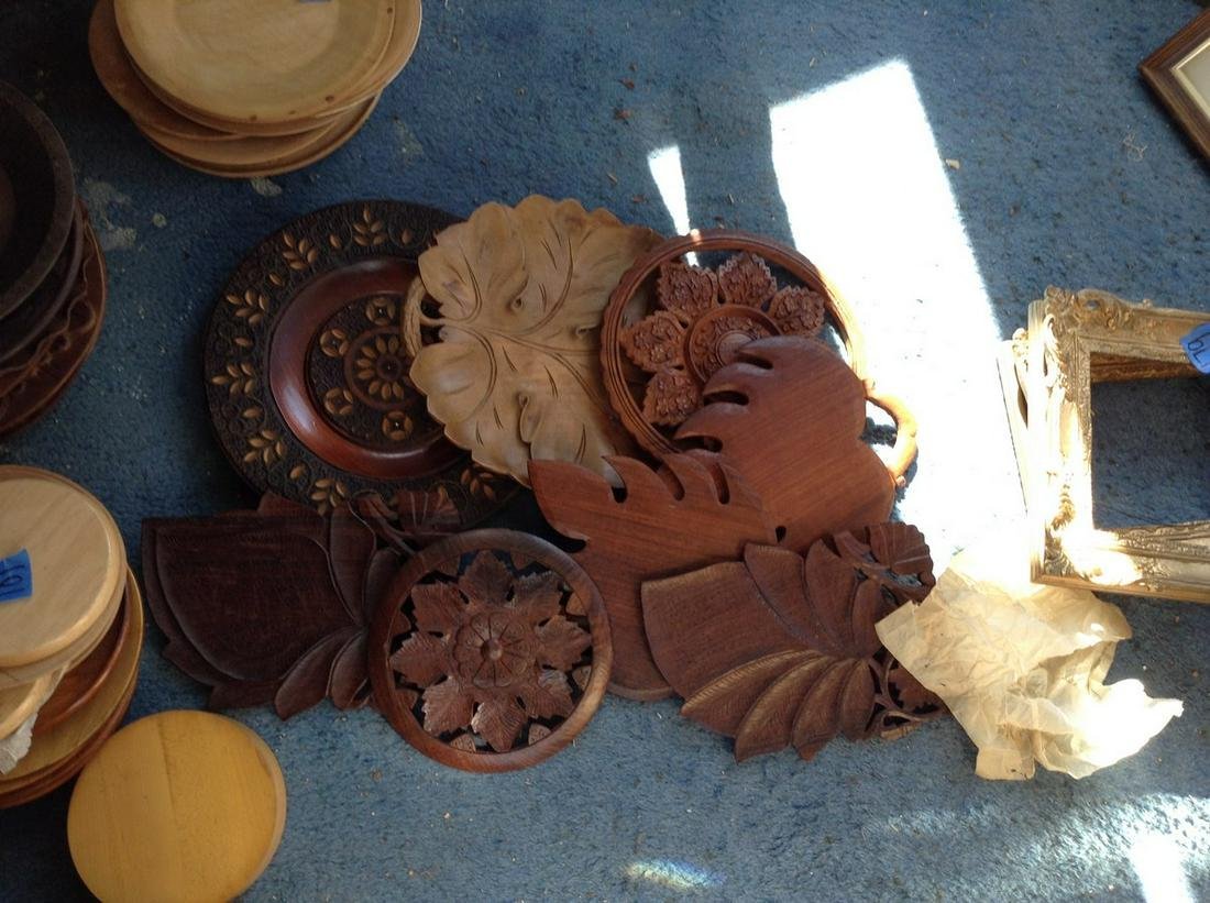 large lot of wood ornate wall hangings