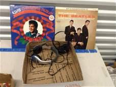 Elvis  Beatles records with 2 headphones
