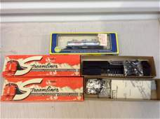 lot of two train models with HO train car