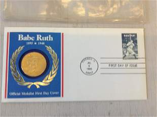 babe Ruth official first day cover with coin and coa