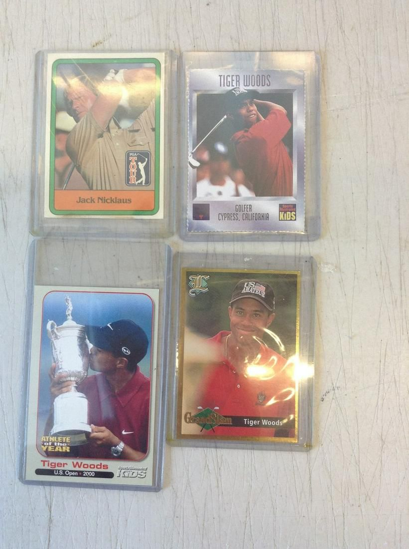 lot of four Nicklaus and woods mint cards