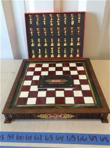 franklin mint stained glass Coca-Cola chess set 1996