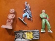 lot of lead men, car, and oriental figurine