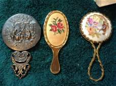 vintage hand held mirrors made in Denmark hand painted