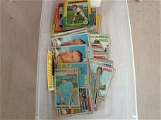 huge lot of vintage baseball cards in the tub