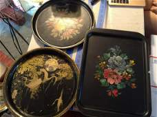 hand painted early tin trays lot of three