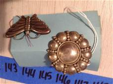 """two early sterling silver art deco style pins 2"""""""