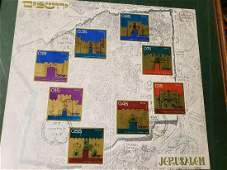 Framed Jerusalem map with stamps