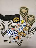 Lot of vintage military ribbons, patches, pins,