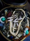 Large box full of vintage/costume jewelry - box is a