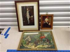 Three pieces of early framed art