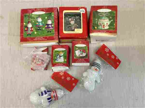 Lot of Hallmark Christmas ornaments in box and more