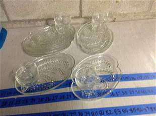 Set of 8 Vintage Snack trays with cups