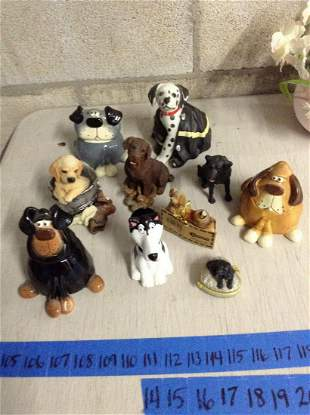 Lot of dog figurines with Signed Russ trinket boxes