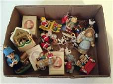 Box of Hallmark and other Christmas ornaments
