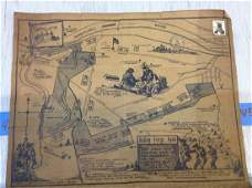 vintage valley forge park map with stamp