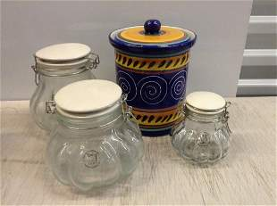 Amicil Glass Jars and Pier 1 Covered Jar