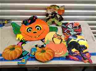 Large lot of vintage Halloween paper cut-outs