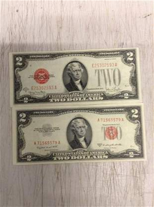 Lot of Two Silver Certificate Two Dollar Bills