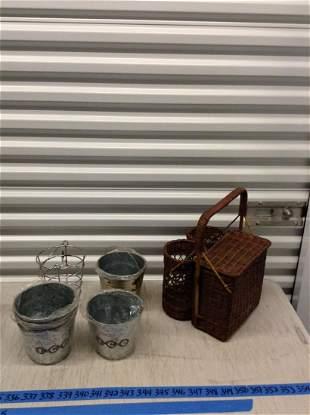 Picnic basket and metal ice buckets