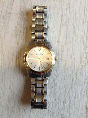Swiss Made Stainless Steel Bulova Wristwatch with Date