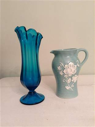 "MCM blue glass vase 13"" tall and pitcher"