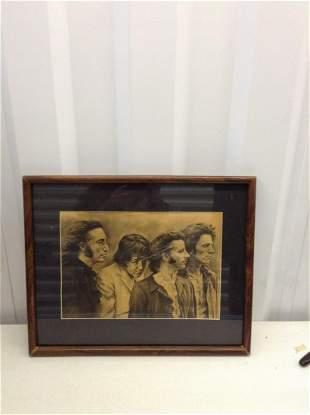 """Framed signed Beatles artwork 21""""x17"""""""