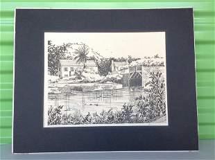 "Original signed artwork ""Somerset Bridge"" Bermuda"