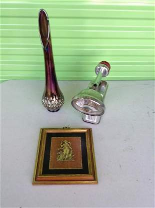 Carnival glass vase, Energizer flashlight and more