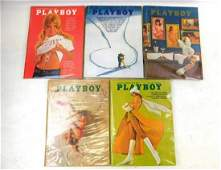Lot of 5 Playboy magazines from 1969  1970