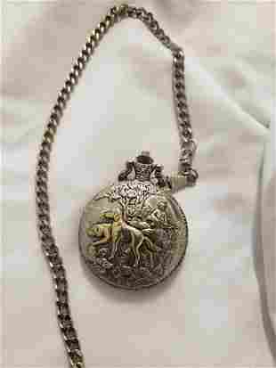 Hunting motif pocket watch