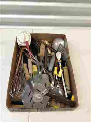 Box full of vintage utensils  and more