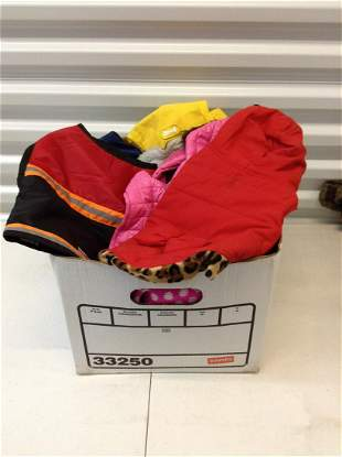 Box full of Dog coats & raincoats  sizes S/M for