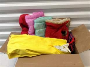 Box full of Dog coats and raincoats sizes S/M for