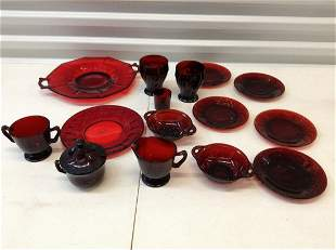 Large amount of vintage red glassware -creamer set,