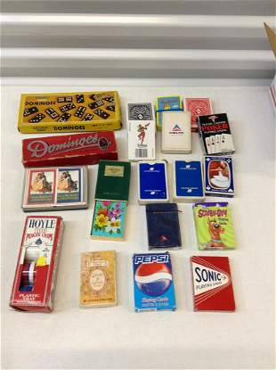 Large amount of advertising playing cards, vintage
