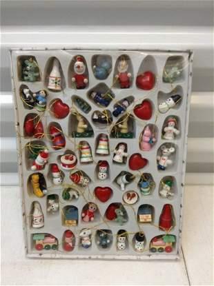 Miniature vintage wooden Christmas ornament set
